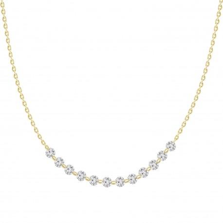 18K Laser hole Diamond Collar Necklace(Small)
