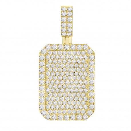 Diamond Rectangle shaped Pave Necklace(Medium)